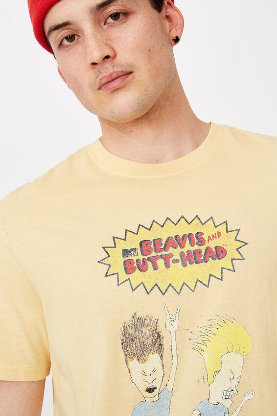 Regular License T Shirt, WASHED TEMPURA BEAVIS AND BUTTHEAD