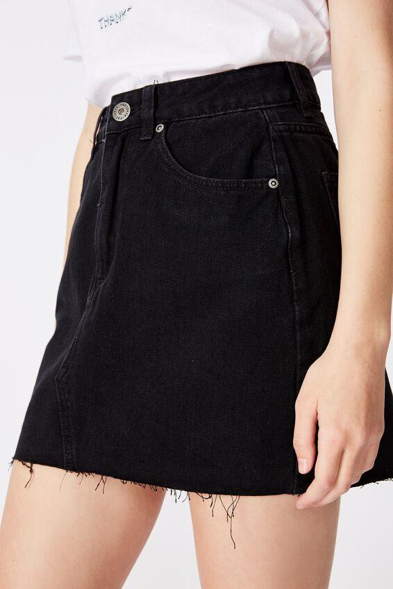 Classic Denim Skirt 2, BLACK