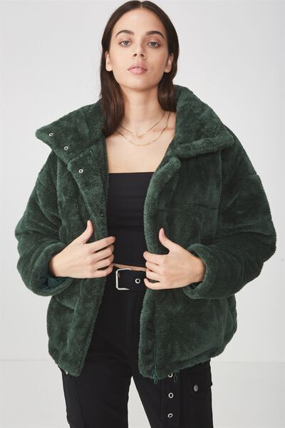 Belair Puffer Jacket, BOTTLE GREEN