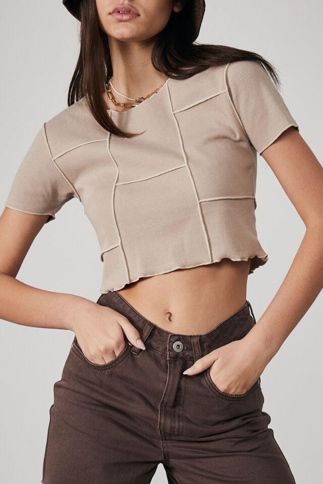Exposed Seam Short Sleeve Top, BROWN MUSHROOM