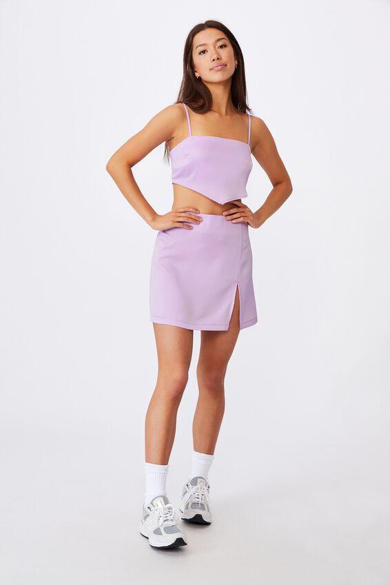 Satin Split Skirt, ORCHID BLOOM