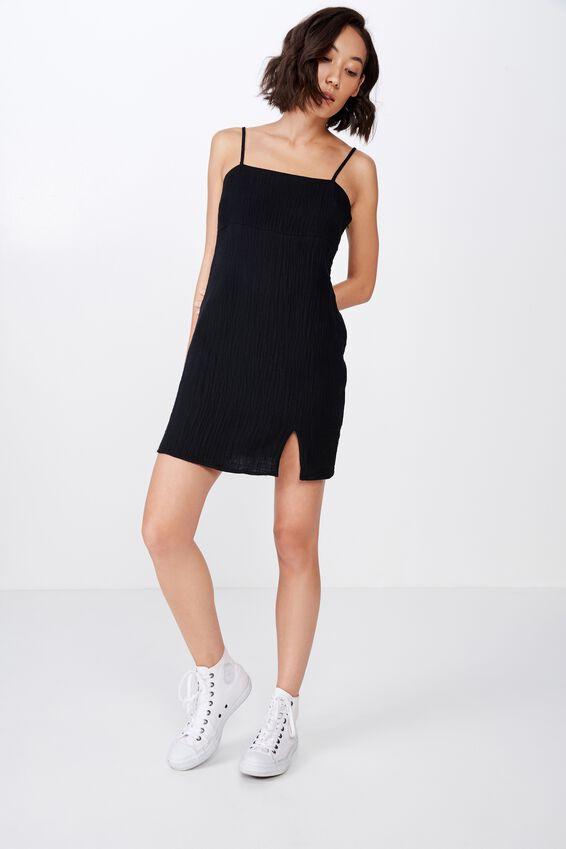 Textured Split Mini Dress, BLACK