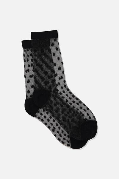 Jacquard Mesh Sock, BLACK MINI DOBBY