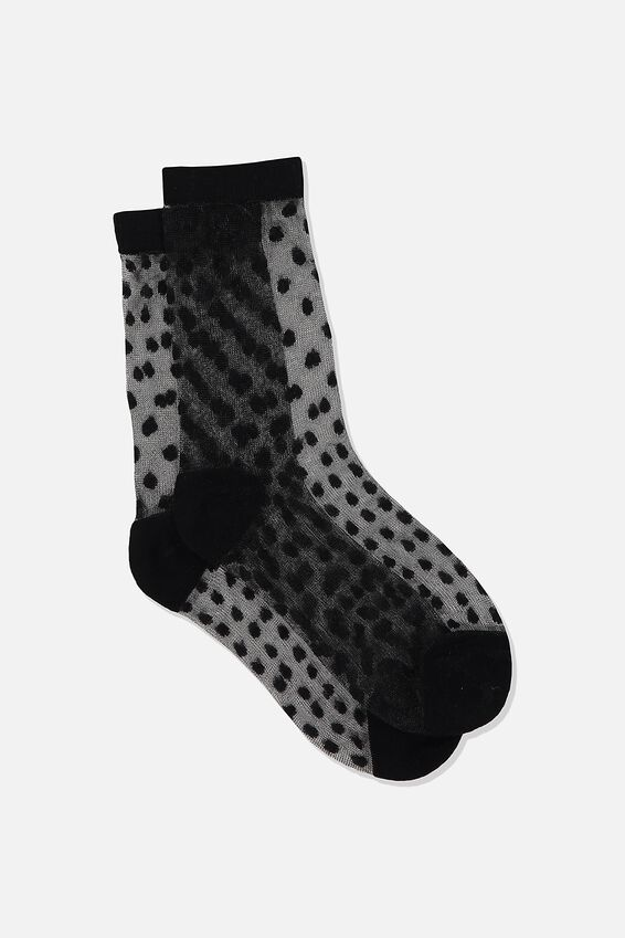 Jacquard Mesh Sock, BLACK MINI DOBBY
