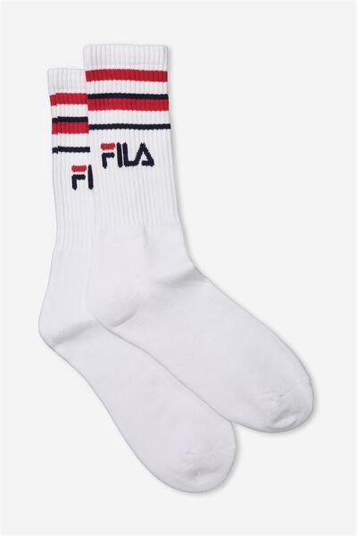 Fila Ribbed Sock, WHITE_MULTI STRIPE