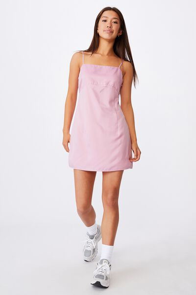 Satin Mini Dress, BABE PINK