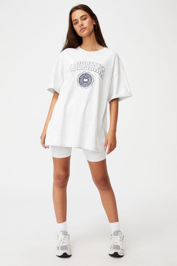 Oversized Graphic T Shirt, SILVER MARLE/LOUISIANA