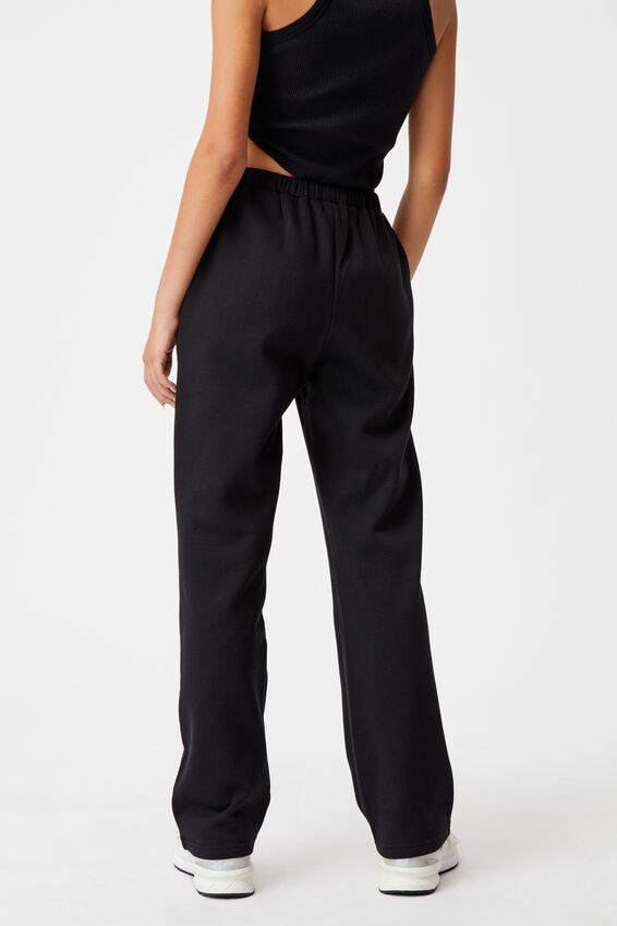 Straight Leg Trackpant, BLACK