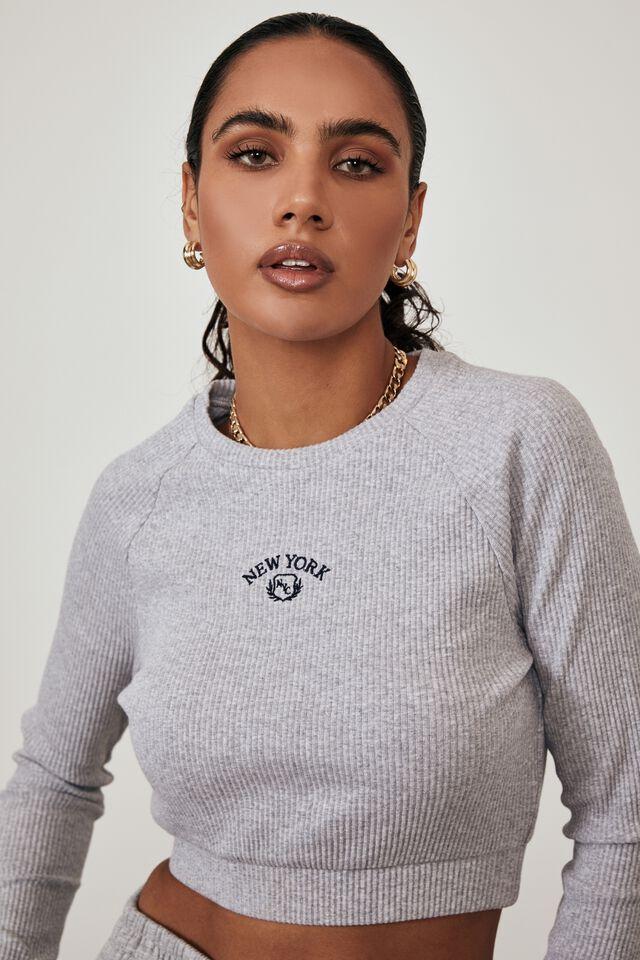 Long Sleeve Raglan Embroidered Rib Top, GREY MARLE