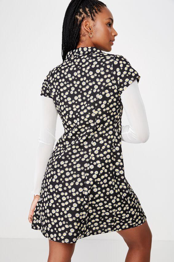 Mini Shirt Dress, BLACK DAISY