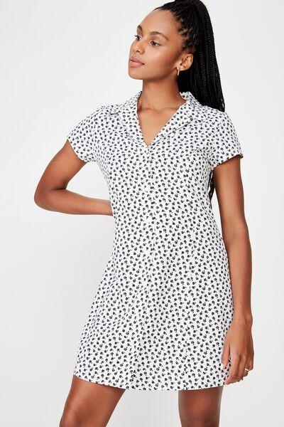 Mini Shirt Dress, WHITE STAMP ROSE