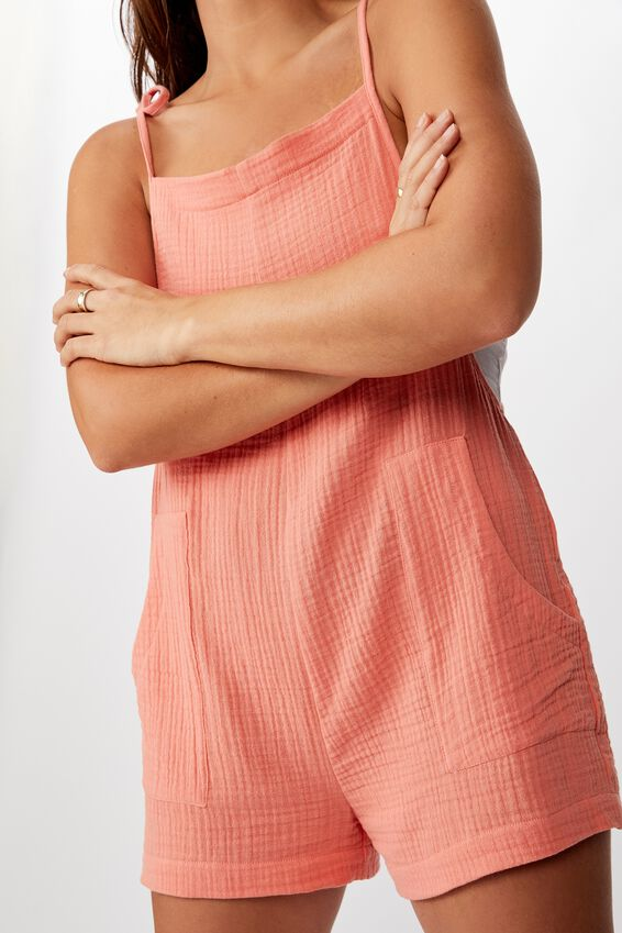 Textured Playsuit, BURNT CORAL