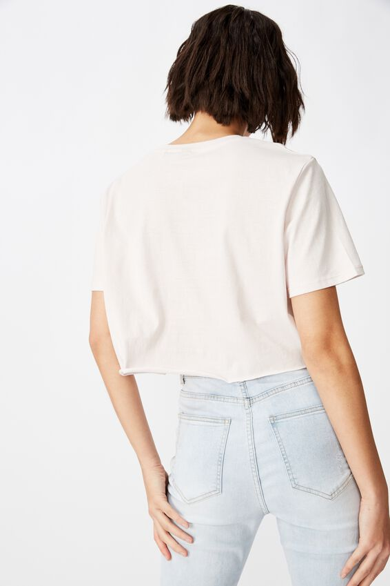 Short Sleeve Raw Edge Crop T Shirt, ORCHID HUSH/HONEY
