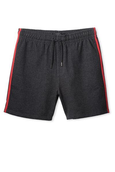 Sport Fleece Short, CHARCOAL MARL/RACING RED STRIPE