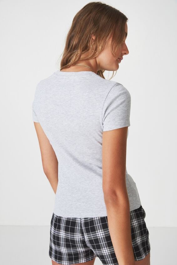Short Sleeve Rib T Shirt, GREY MARLE