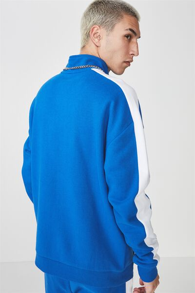 Sports Quarter Zip Jumper, PRINCE BLUE/WHITE STRIPE