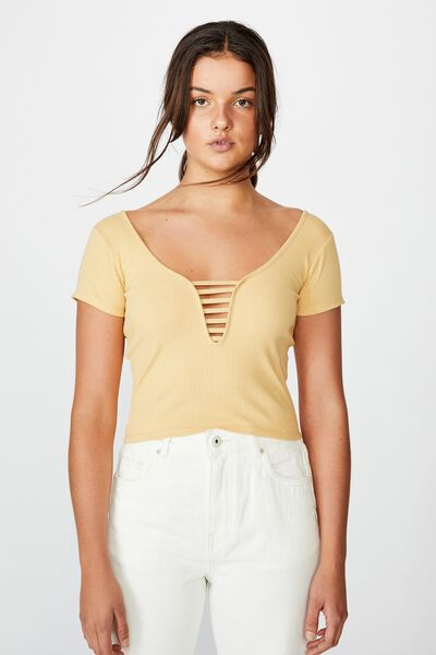 Ladder Detail Ss Top, TEMPURA YELLOW