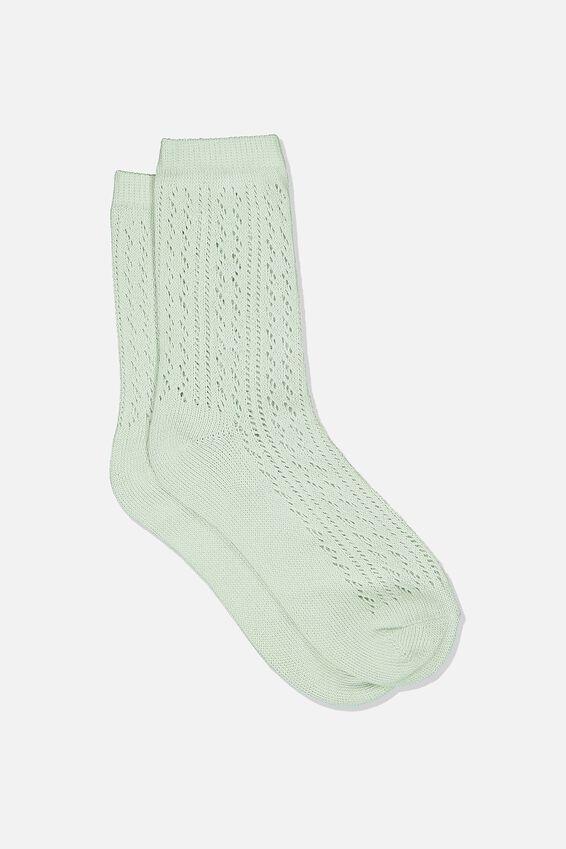 Pointelle Sock, MISTY JADE
