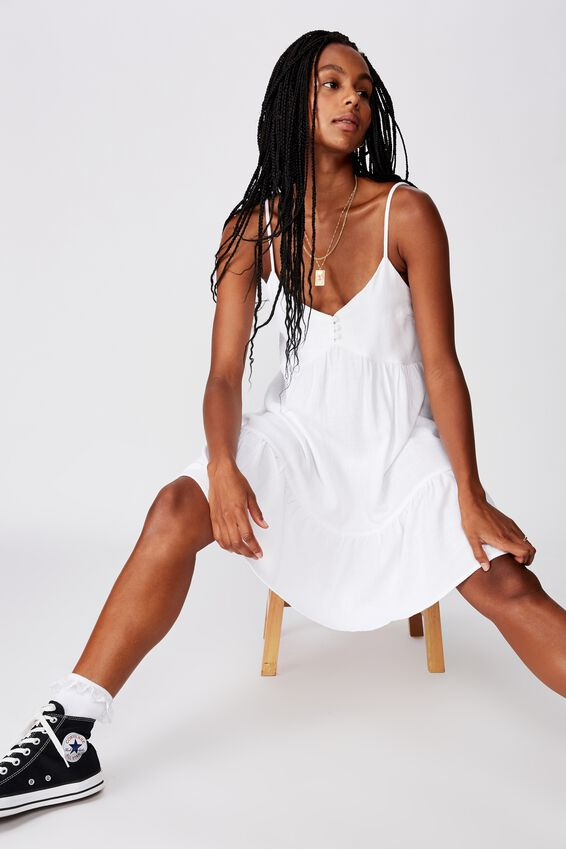Fit And Flare Tiered Dress, WHITE