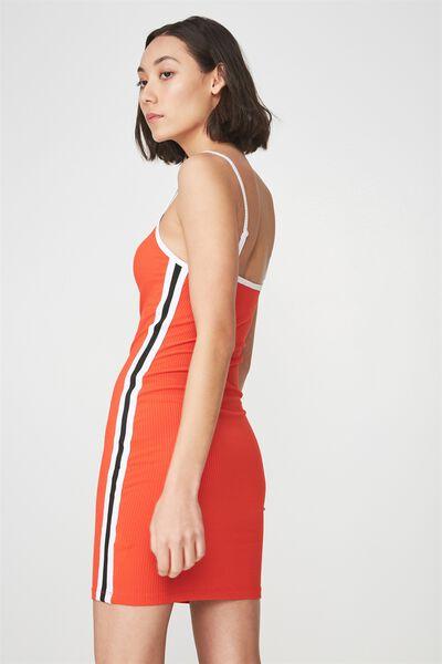Rib Strappy Scoop Neck Mini Dress With Tape Side, GRENADINE_TAPE