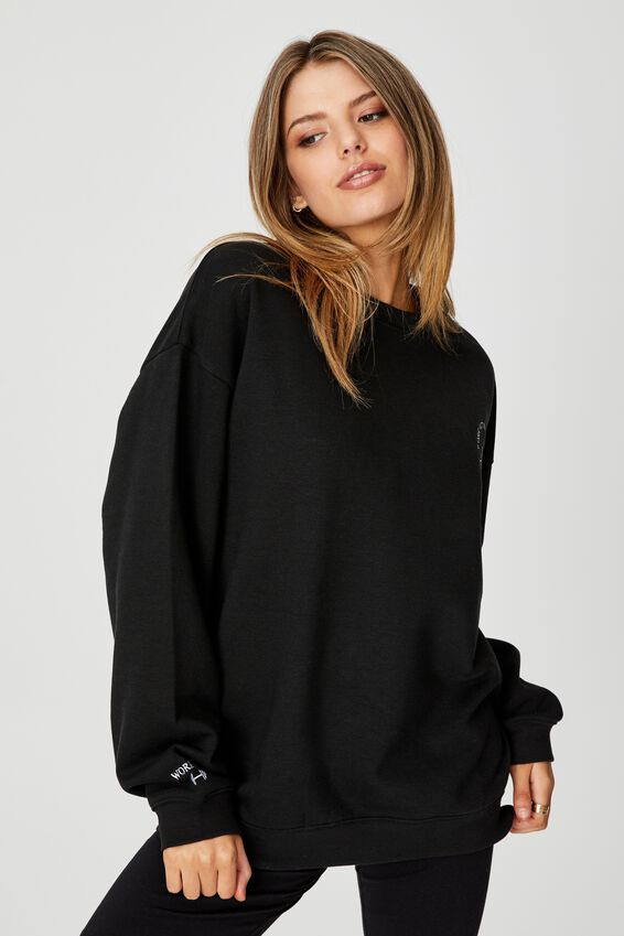 Oversized Graphic Crew, BLACK/WORKOUT ROUTINE