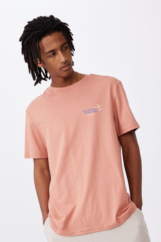 Regular Graphic T Shirt, WASHED ORANGE/TELEPATHIC TRAINING