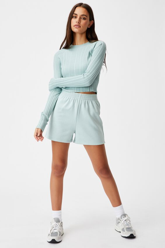 Variegated Rib Knit Long Sleeve Top, ETHER