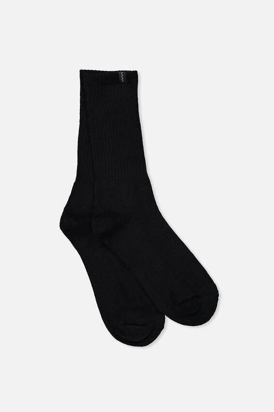 Retro Ribbed Socks, BLACK