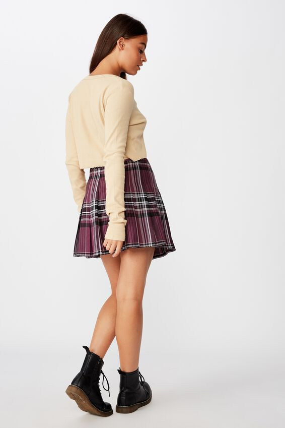Pleated Skirt, RAYNA PURPLE CHECK