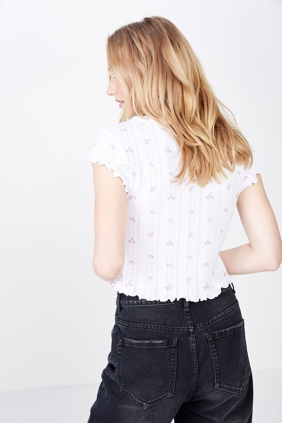 Short Sleeve Pointelle Top, WHITE BASE DITZY