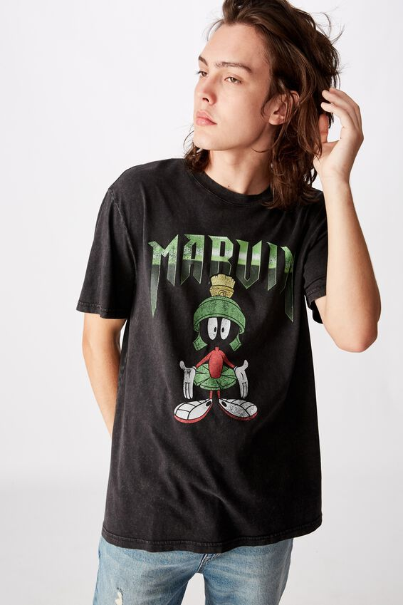 Regular License T Shirt, WASHED BLACK/MARVIN