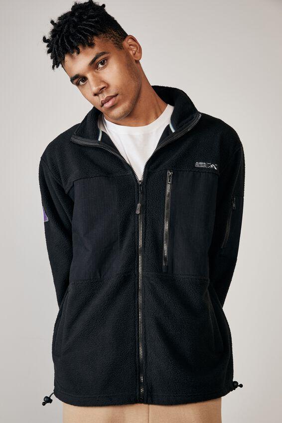 Teddy Zip Thru Mountain Jacket, BLACK
