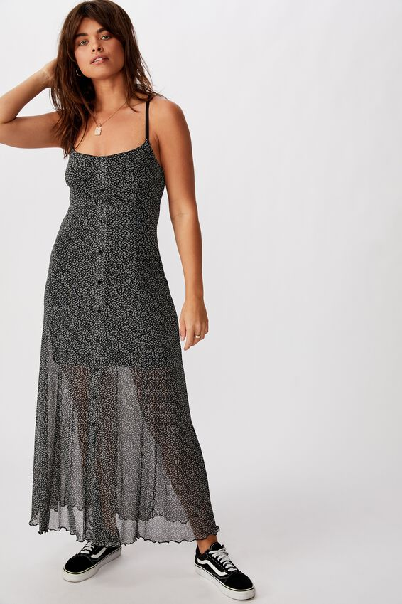 Mesh Maxi Dress, ELSIE DITSY_BLK GREY