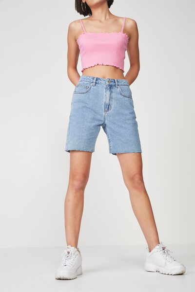 Long Cut Off Denim Short, THRIFT BLUE