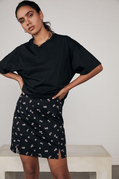 Double Split Mini Skirt, JOSIE FLORAL_BLACK FAWN