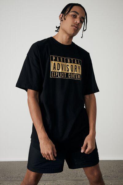 Oversized Pop Culture T Shirt, LCN PAD BLACK/GOLD/PARENTAL ADVISORY