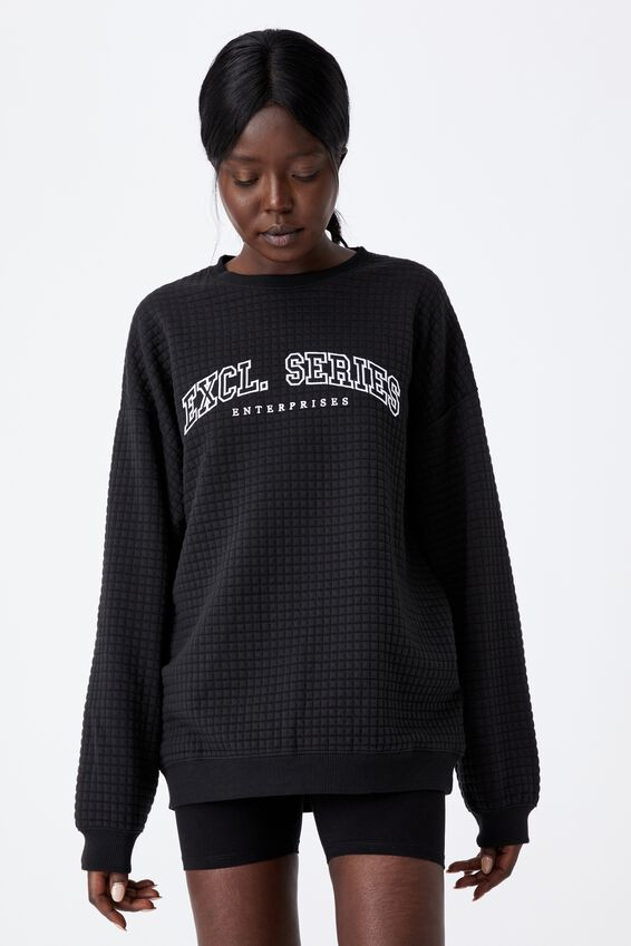 Waffle Oversized Graphic Crew, BLACK/EXCL. SERIES