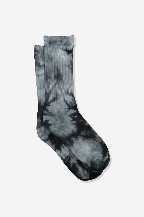 Retro Ribbed Socks, TIE DYE_BLACK