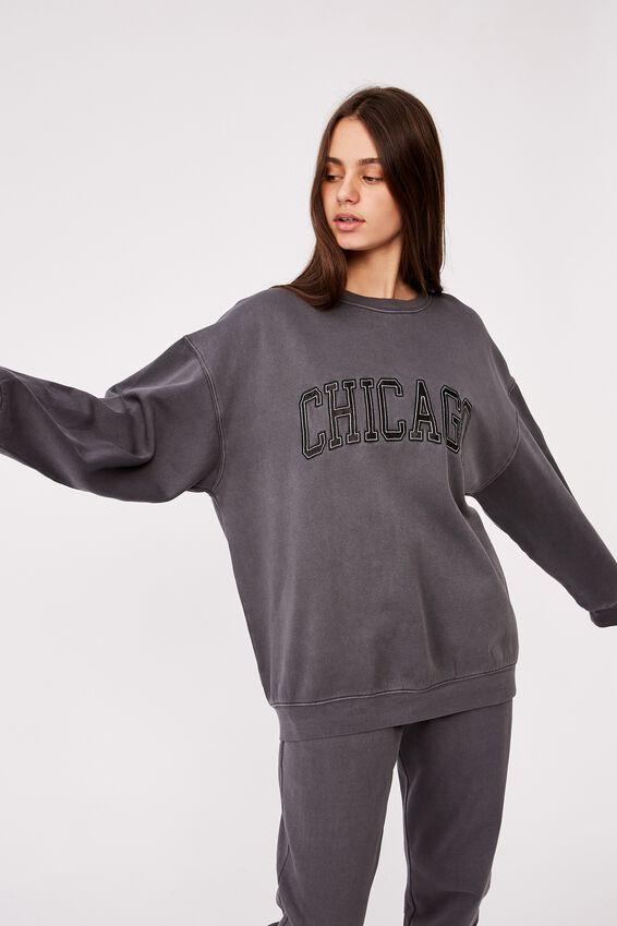 Oversized Graphic Crew, WASHED BLACK/CHICAGO