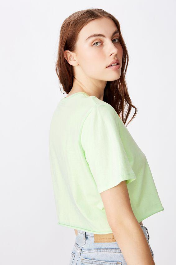 Short Sleeve Raw Edge Crop T Shirt, MISTY JADE/ALTER EGO