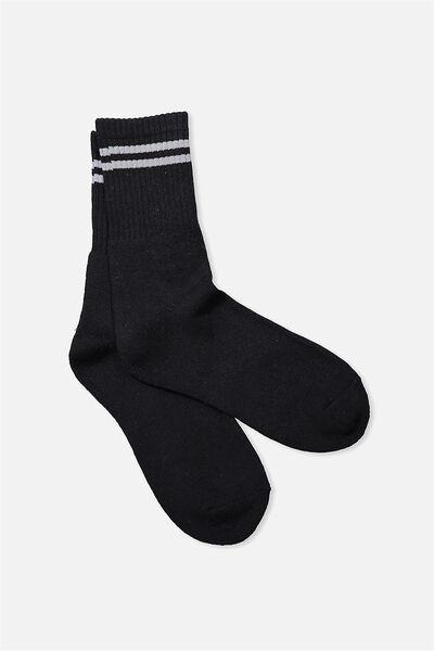 Retro Sport Sock, BLACK/GREY NARROW