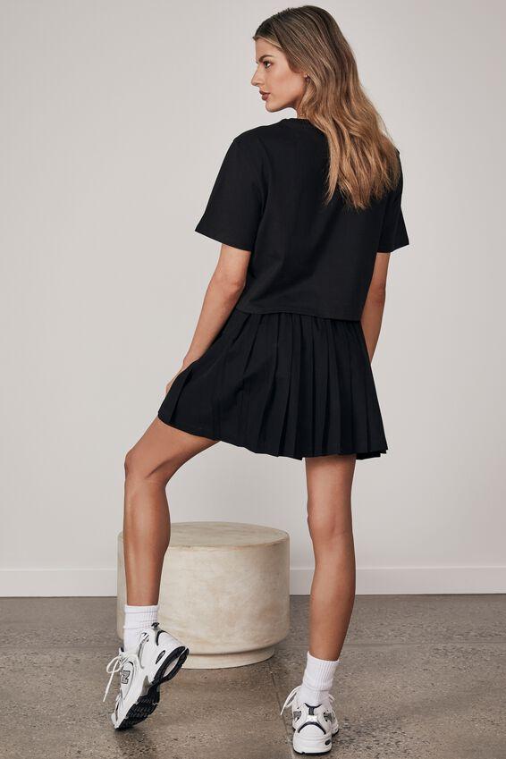 Wrap Pleated Skirt, BLACK