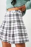 Pleated Skirt, GABRIELLE WHT/BLK CHECK