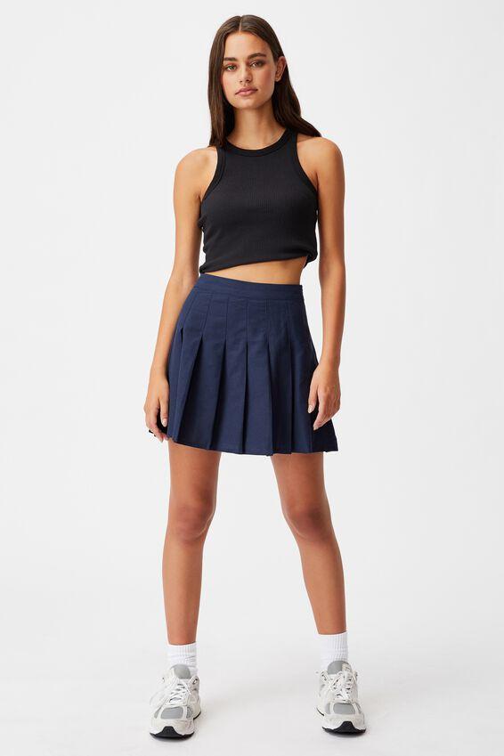 Pleated Skirt, NAVY