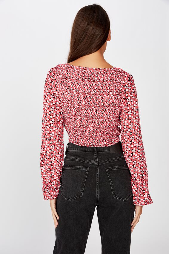 Button Front Top, JAYDA DITSY RED