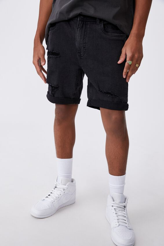 Slim Cut Denim Short, WASHED BLACK