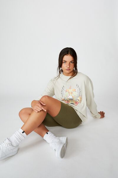 Oversized Ls Graphic Tee, WASHED IVORY/BORN TO BE FREE