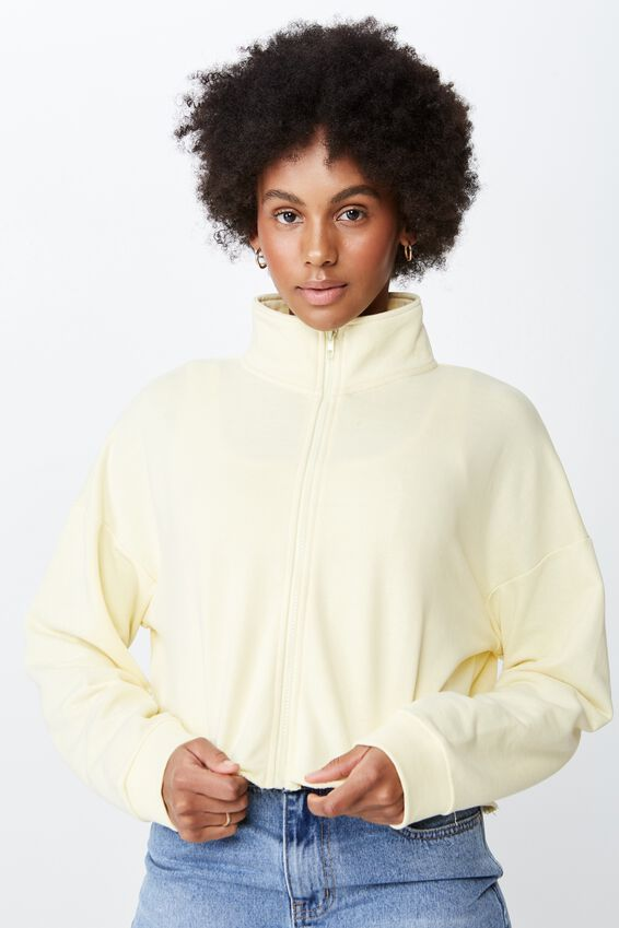 Boxy Zip Thru Jacket, PASTEL YELLOW