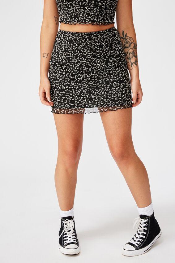Mesh Skirt, BLACK/KIARA DITSY