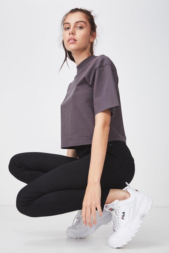 High Neck Boxy Crop Tshirt, ASPHALT